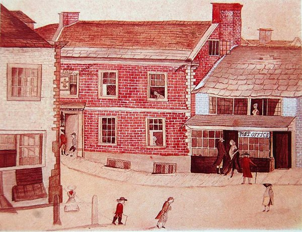 the painting below shows yeovil 39 s first post office. Black Bedroom Furniture Sets. Home Design Ideas